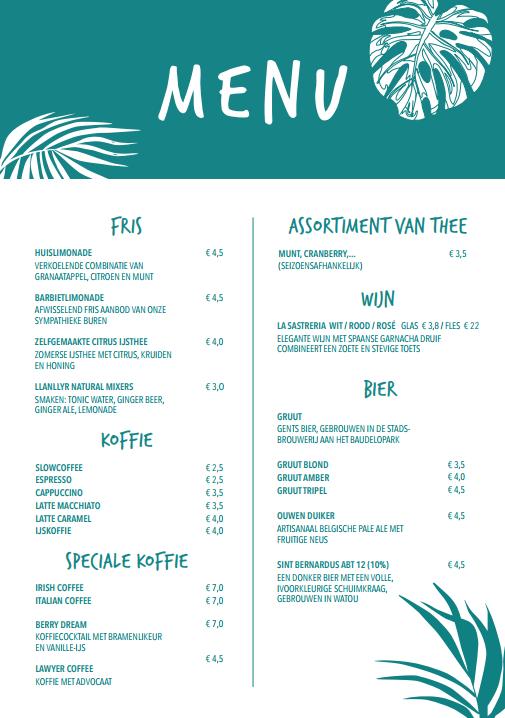 Voorkant van het menu van Broesse, het tropische plantenkaffee in Gent